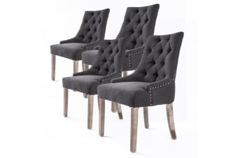 4X French Provincial Oak Leg Chair AMOUR - BLACK