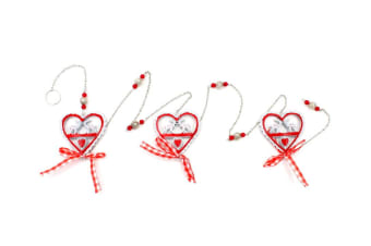 Christmas Hanging Garland Metal Chain Hearts with Reindeers Beads Ribbons 120cm