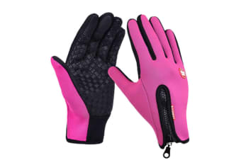 Trendy Outdoor Non-Slip Touch Screen Camping Sports Gloves Rose Red Xl