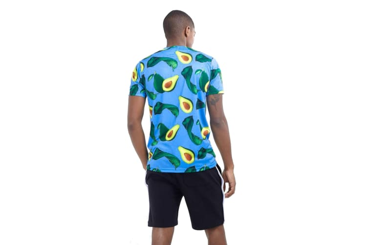 Brave Soul Mens Avocado Print Crew Neck T Shirt (Blue/Avocado) (L)