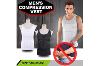 MENS Body Slimming Compression Vest Variant Sizes BLACK - S
