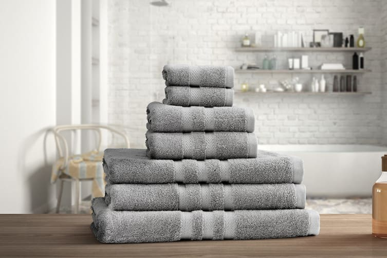 Ovela Set of 7 Egyptian Cotton Luxury Towels (Silver)
