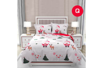 Queen Size SANTA SNOW CHRISTMAS Design Quilt Cover Set