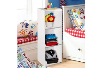 Wooden Storage Unit 3 Cube Strong Bookcase Shelving Home Office Display - White