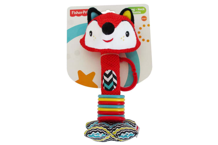 2PK Fisher Price Fox/Lion Long-Neck Squeaker Rattle Educational Toy Baby 0m+
