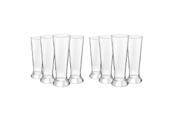 8PC Royal Leerdam 370ml L'Esprit Beer Pilsner Glass Pint Tall Drink Bar Glasses