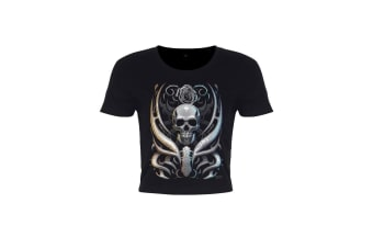 Requiem Collective Ladies/Womens Skull Crypt Crop Top (Black)