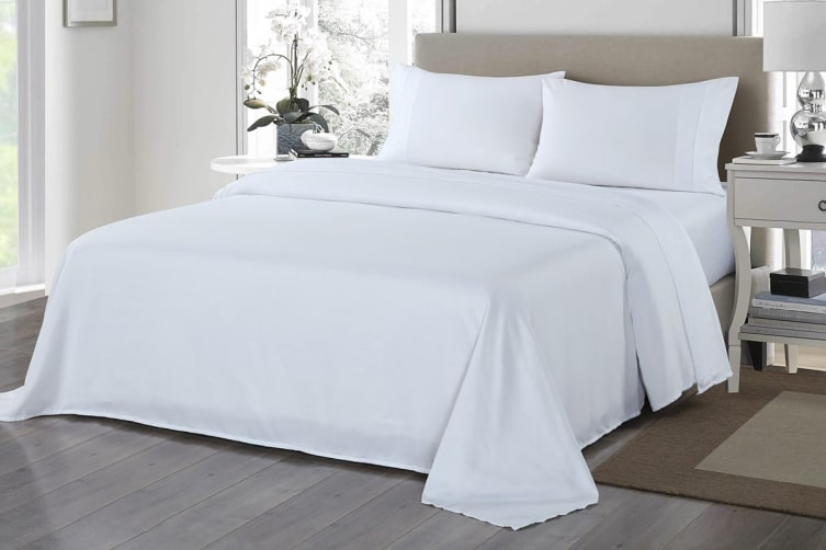 Royal Comfort 1200TC Ultrasoft Microfibre Bed Sheet Set (Queen, White)