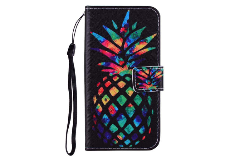 For iPhone XS MAX Cover Leather Folio Wallet Card Slots Case Colored Pineapple