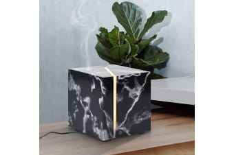200Ml Marble Grain Aromatherapy Diffuser Aroma Diffuser Ultrasonic Led Humidifier - Black
