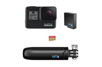 GoPro Hero7 Black with 32GB SD Card, Extra Battery, Shorty Mount (GPCHDHX-701)