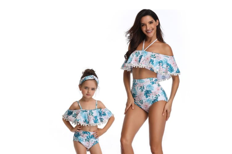 Floral Print High Waisted Bathing Suit Mommy And Daughter Swimwear Bikini Sets S