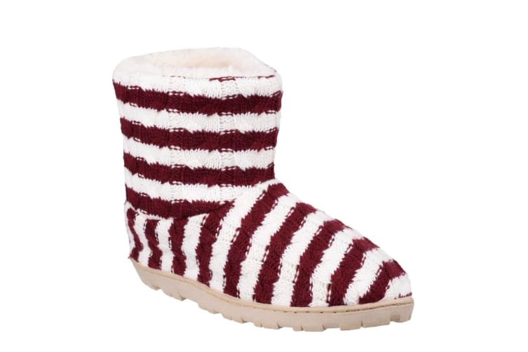 Divaz Womens/Ladies Latvia Striped Slippers (Red) (Large)