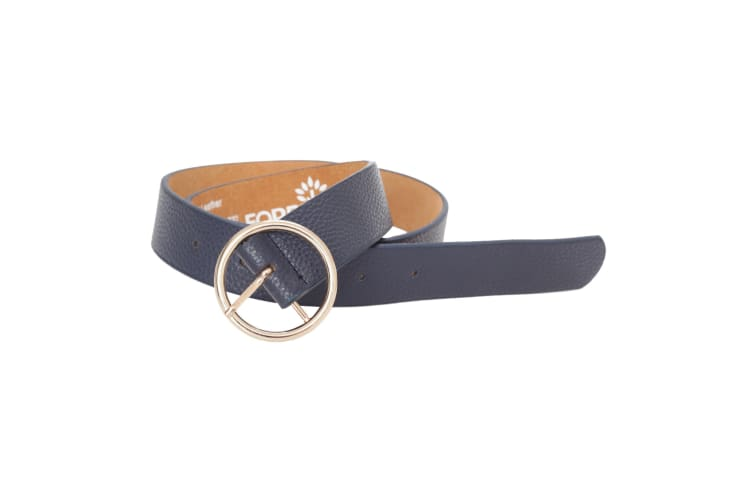 Forest Womens/Ladies Circle Buckle Leather Belt (Navy) (XL)