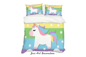 3D Cartoon Unicorn Quilt Cover Set Bedding Set Pillowcases 73-Queen