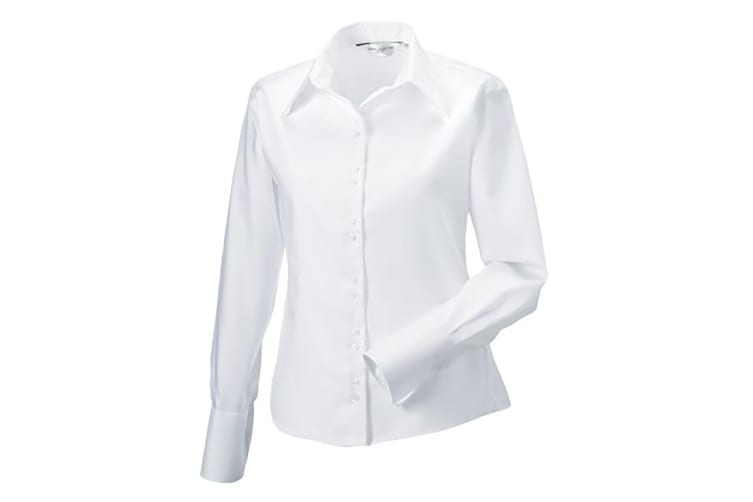 Russell Collection Ladies/Womens Long Sleeve Ultimate Non-Iron Shirt (White) (4XL)