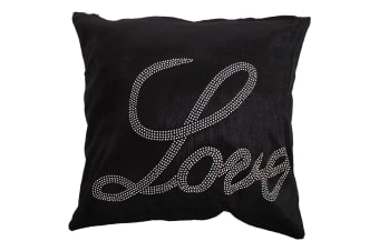 Panache Love Sparkle Design Cushion Cover (Cushion Pad Not Included) (Black)