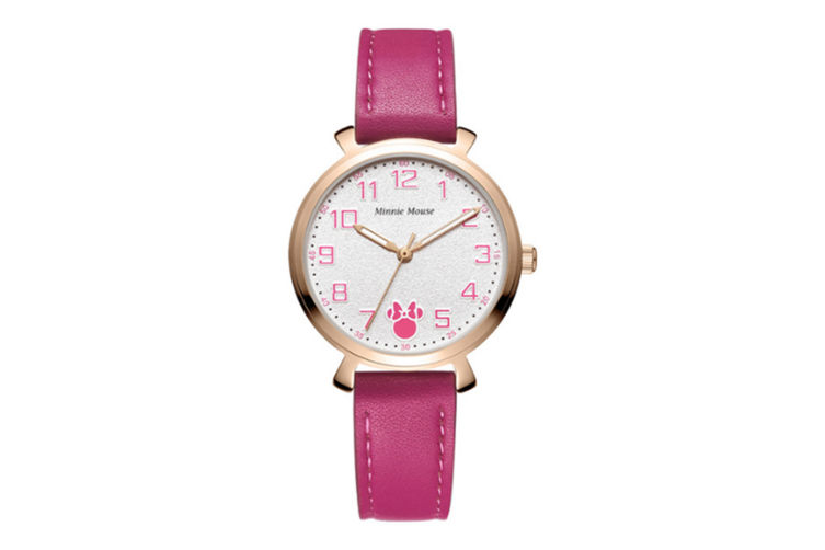 Select Mall Minnie Leather Fashion Trend Macaron Quartz Watch Waterproof Big Round Watch Suitable for Women-Red
