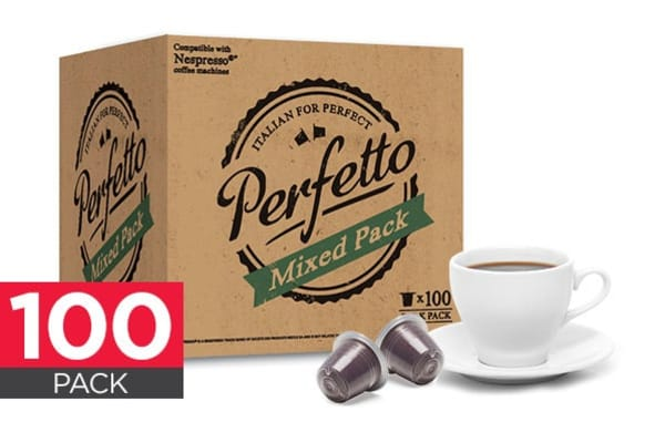 100 pack perfetto nespresso compatible coffee pods mixed pack