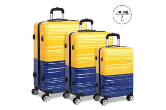 3 Piece Lightweight Hard Suit Case with Hand Scale (Yellow/Purple)