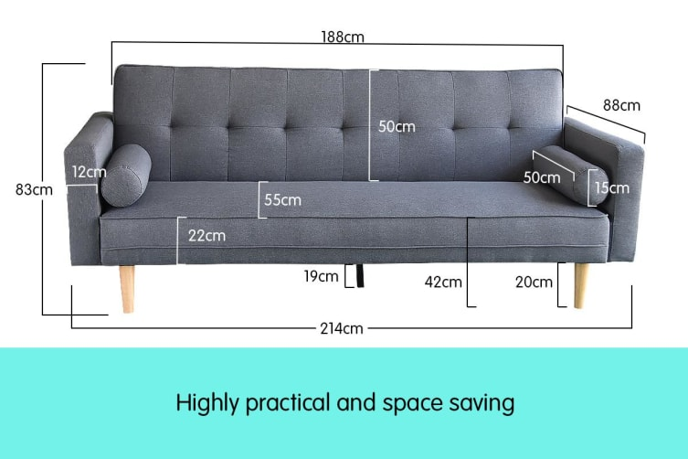 Madison 3 Seater Linen Sofa Bed Couch with Pillows - Dark Grey