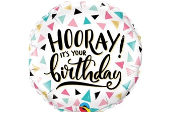 Qualatex Hooray Its Your Birthday Round Foil Balloon (Multicoloured) (One Size)
