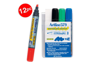 12pc Artline 579 5mm Chisel Nib Office Whiteboard Markers Assorted Colour Wallet