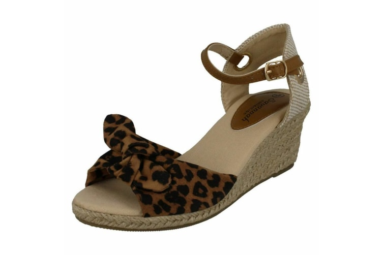Savannah Womens/Ladies Mid Rope Wedge Sandals (Leopard) (6 UK)