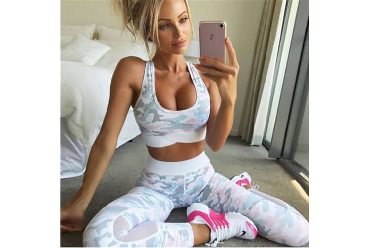Women'S Fashion Camouflage Print Yoga Sports Suits Pink M