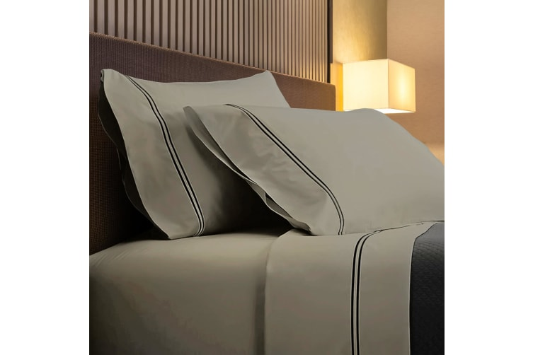 Renee Taylor 1000TC Sorrento Sheet Set Cotton Soft Touch Hotel Quality Bedding - King - Linen