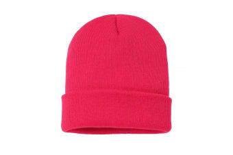 Nutshell Adults Unisex Knitted Turn-Up Beanie (Bright Pink)
