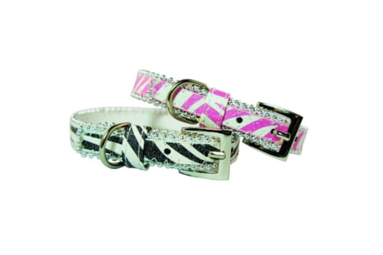 Pet London Glitter Zebra Print Dog Collar (Pink) (M)
