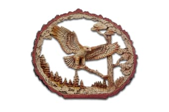 Cherokee River Cut Out Log and Eagle Resin Plaque