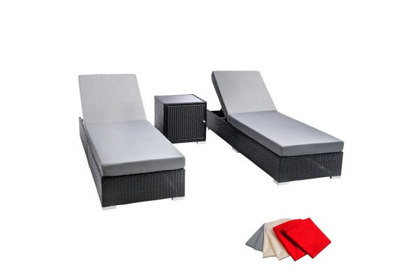 3 Piece Wicker Rattan 2 Seater Outdoor Lounge Set (Grey/Black)