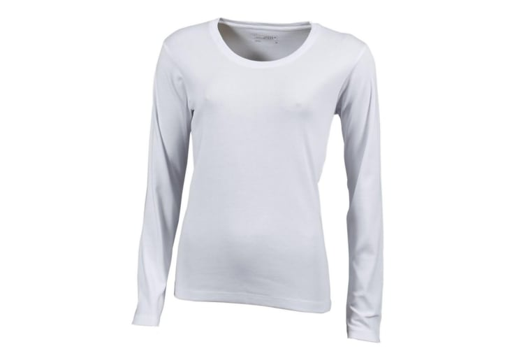 James and Nicholson Womens/Ladies Long-Sleeved T-Shirt (White) (M)