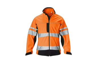 Hard Yakka Men's Hi Vis Two-Tone Long Sleeve Soft Shell Jacket (Orange/Navy)
