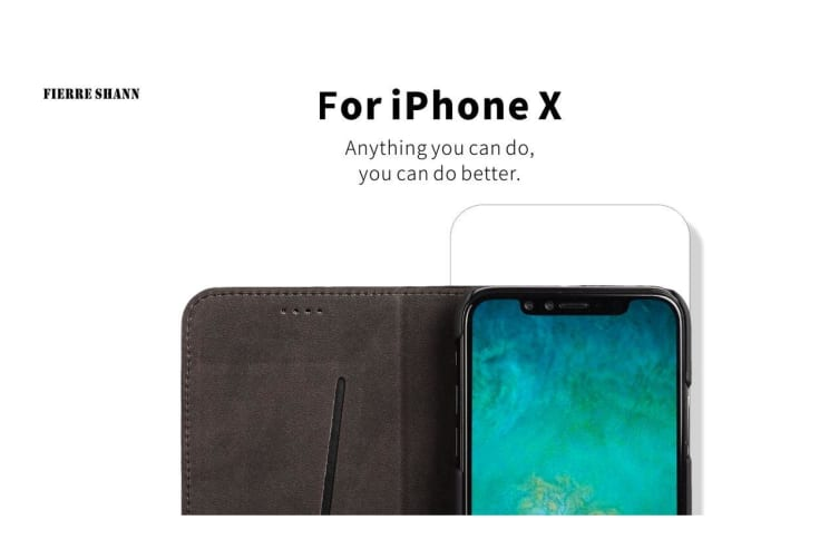 For iPhone XS X Wallet Case Fierre Shann Crocodile Genuine Leather Cover Black