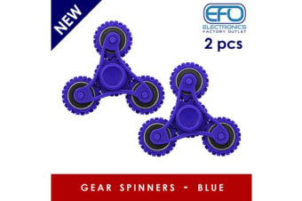 2Pc 2X 3D Hand Spinner Fidget Toy Gear Style Stress Reliever Fast Bearing Spin Blue