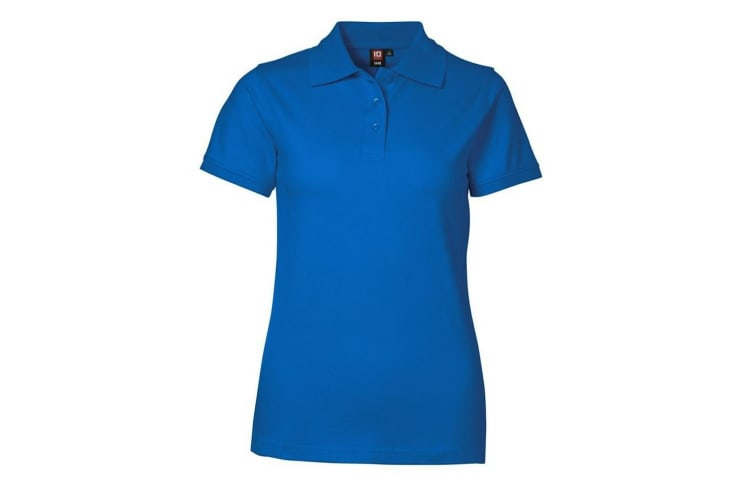 ID Womens/Ladies Stretch Pique Fitted Short Sleeve Polo Shirt (Azure) (M)