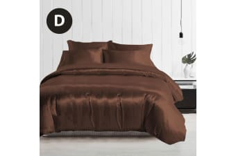 Double Size Silky Feel Quilt Cover Set-Chocolate
