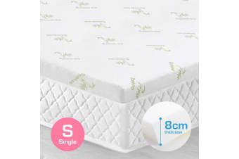 Single Size 8cm Bamboo Fabric Memory Foam Mattress Topper Protector Fabric Cover