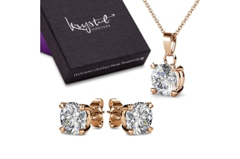 Boxed Solitaire Necklace And Earrings Set Embellished with Swarovski crystals