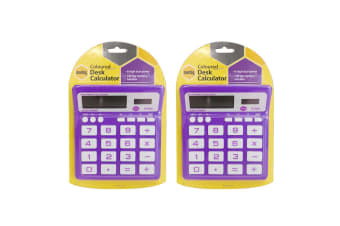 2PK Marbig Coloured Desk Calculator Purple