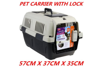 Portable Travel Pet Dog Cat Carrier Crate Airline Transporter Cage Kennel 57 x 37 x 35 CM WITH LOCK GATE
