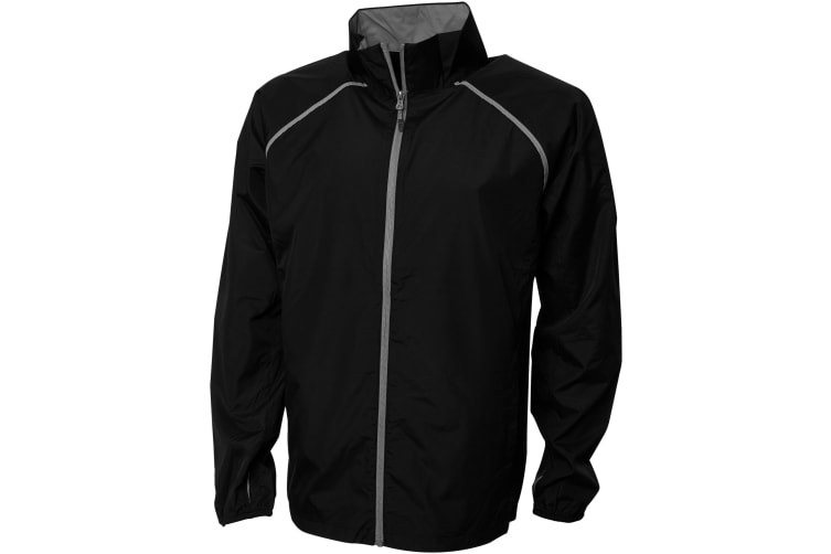 Elevate Mens Egmont Packable Jacket (Solid Black) (L)