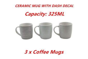 3 x 325ml Coffee Mug Ceramic Mugs with Dash Decal Drinking Tea Cup Party Event
