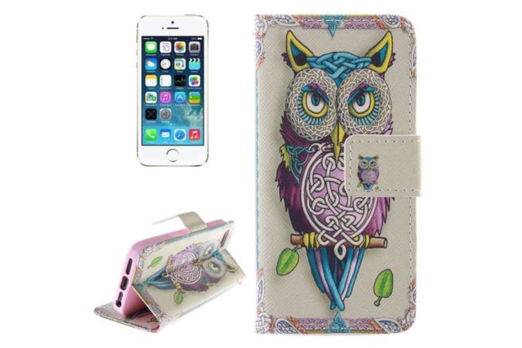 For iPhone SE 5S 5 Wallet Case Owl Pattern Leather Durable Shielding Cover