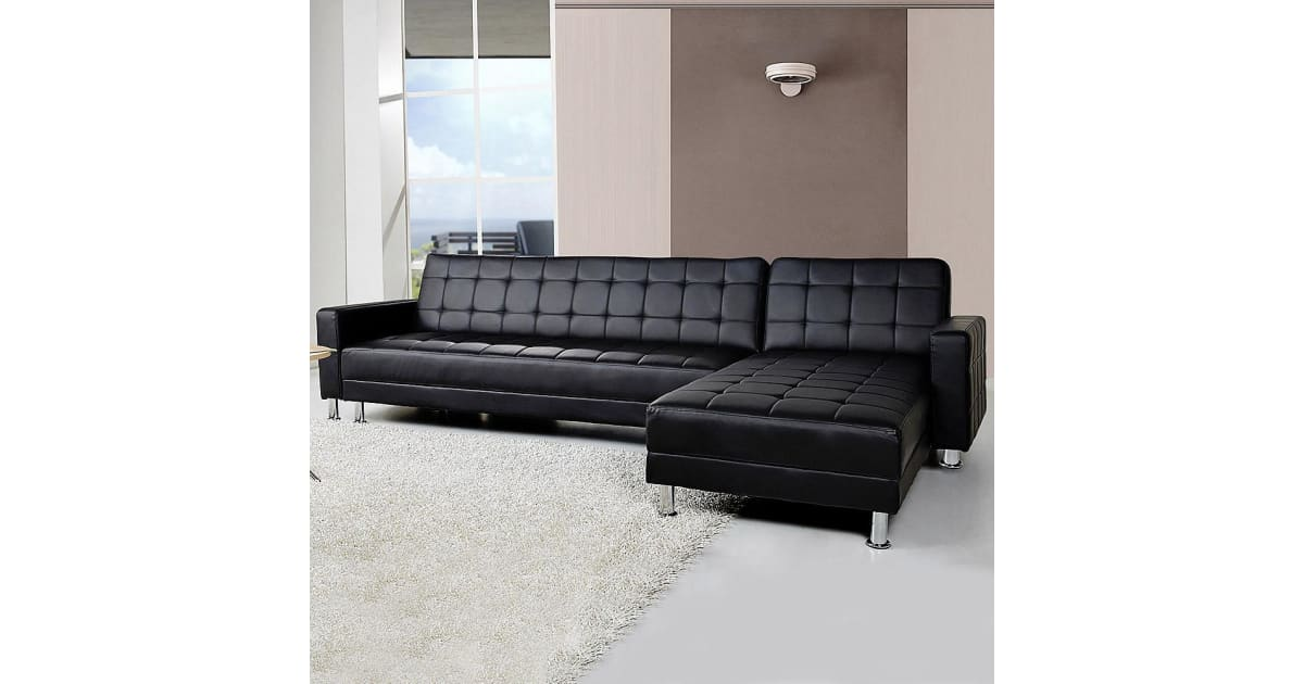 Dick Smith 5 Seater Pu Faux Leather Corner Sofa Bed