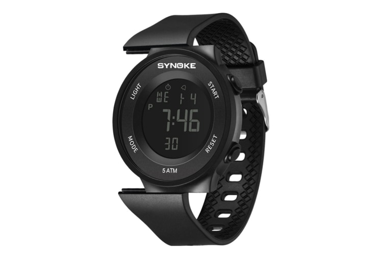 Men'S Sports Electronic Watch Student Waterproof Led Night Light Watch Black