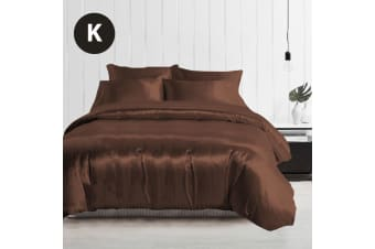 King Size Silky Feel Quilt Cover Set-Chocolate
